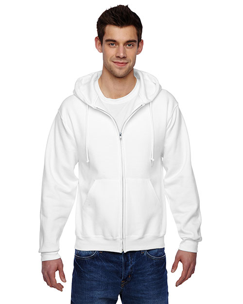 Jerzees 4999 Men 9.5 oz., 50/50 Super Sweats NuBlend Fleece Full Zip Hood White at GotApparel