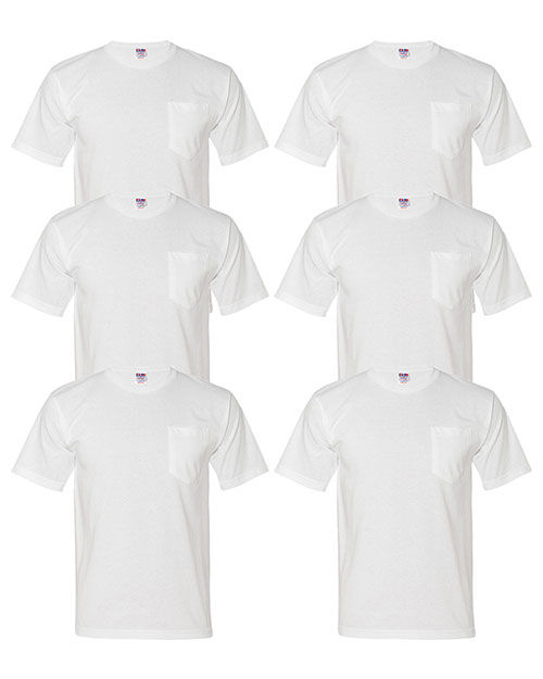 Bayside 5070 Men Short-Sleeve Tee With Pocket 6-Pack at GotApparel