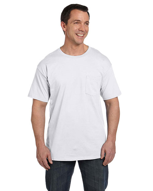 Hanes 5190P Men's 6.1 oz.  Beefy-T® with Pocket White at GotApparel