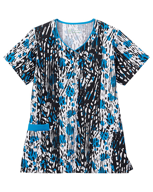 White Swan 5219 Contrast Vneck Print Top at GotApparel