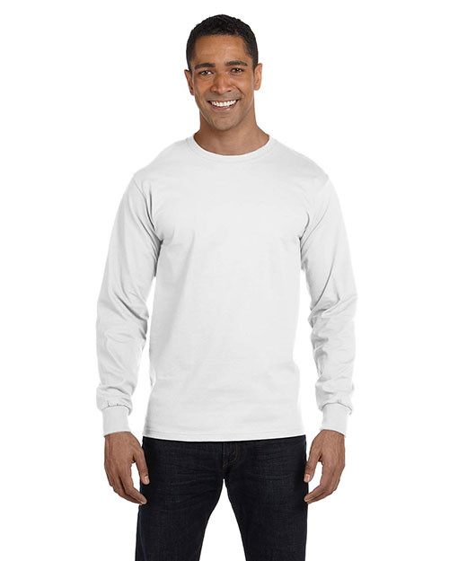 Hanes 5286 Men 5.2 oz. ComfortSoft Cotton LongSleeve T-Shirt White at GotApparel