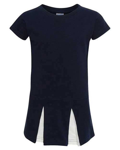 Rabbit Skins 5303 Toddlers Jersey Cheer Dress Navy/ White at GotApparel