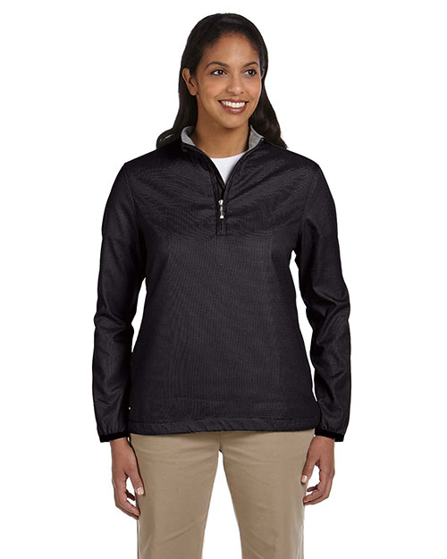 Ashworth 5358C Women Houndstooth HalfZip Jacket Black at GotApparel
