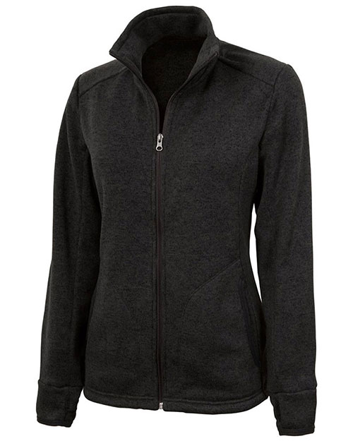 Charles River Apparel 5493 Women Heathered Fleece Sweater Jacket at GotApparel