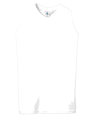 Augusta 557 Girl's Sleeveless V-Neck Poly/Cotton Jersey White at GotApparel