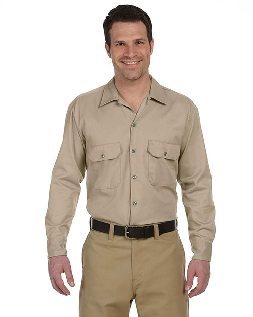 Dickies 574 Men's 5.25 oz. Long-Sleeve Work Shirt Khaki at GotApparel