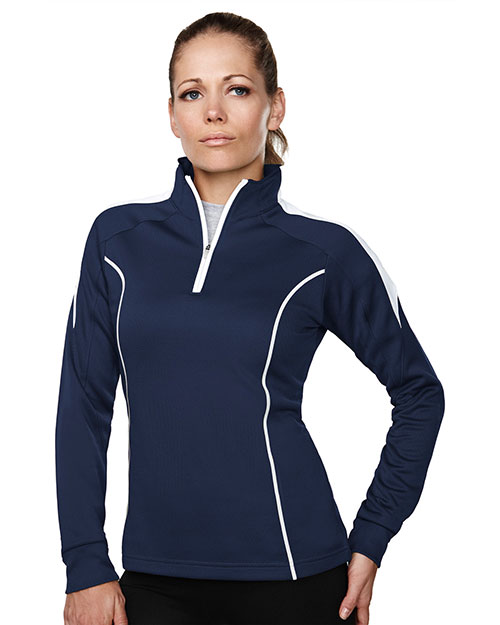 TRI-MOUNTAIN PERFORMANCE 603 Women Fairview Textured Long Sleeve 1/4 -Zipper Pullover at GotApparel