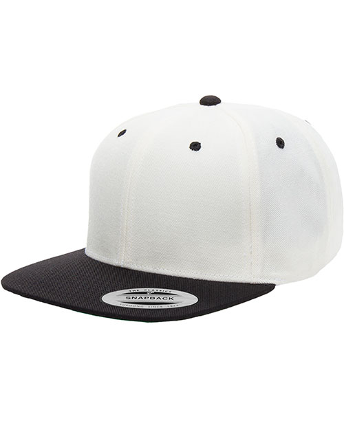 Yupoong 6089 Unisex 6-Panel Structured Flat Visor Classic Snapback Natural/Black at GotApparel