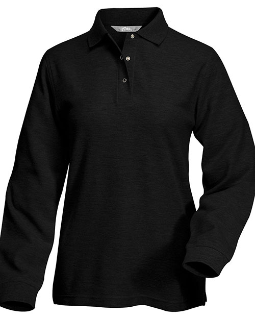 Tri-Mountain 612 Women System Long Sleeve Easy Care Knit Shirt With Snap Closure. Ideal Cook Shirt Black at GotApparel