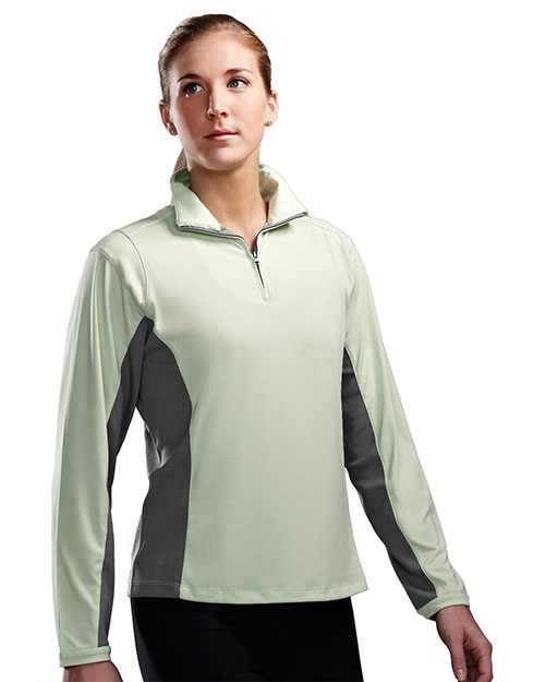TRI-MOUNTAIN PERFORMANCE 621 Women Dash 1/4 Zip Long Sleeve Ultracool Pullover Apple/Gray at GotApparel