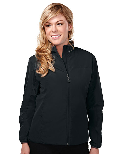 Tri-Mountain 6220 Women Chelsea Long Sleeve Jacket With Water Proof Black/Charcoal/Black at GotApparel