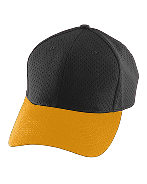 Augusta 6235 Men Athletic Mesh Cap Black/Gold at GotApparel