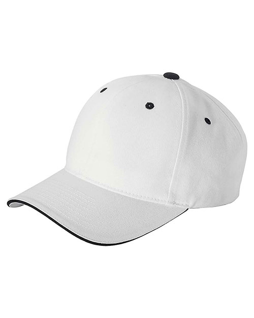 Yupoong 6262S Unisex Brushed Cotton Twill 6Panel Mid-Profile Sandwich Cap White/Black at GotApparel