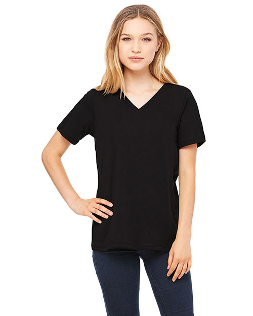 Bella + Canvas 6405 Women Missy's Relaxed Jersey ShortSleeve VNeck TShirt Black at GotApparel