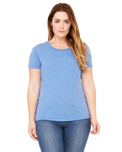 Bella + Canvas 6406 Adult Missy Jersey Short-Sleeve Scoop Neck T-Shirt Blue Triblend at GotApparel