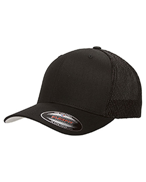 Yupoong 6511 Unisex 6-Panel Trucker Cap Black at GotApparel
