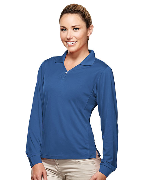 TRI-MOUNTAIN PERFORMANCE 656 Women Eclipse Poly Ultracool Pique Y Neck Long Sleeve Golf Shirt Royal at GotApparel