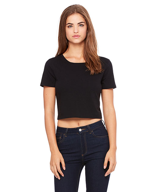 Bella + Canvas 6681 Women PolyCotton Crop TShirt Black at GotApparel