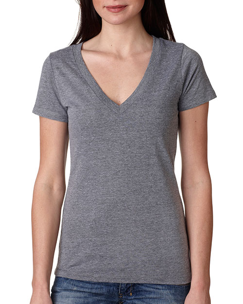 Next Level 6740 Women Tri blend Deep V Tee Premium Heather at GotApparel