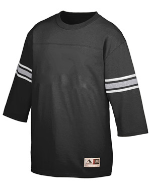 Augusta 676 Men Old School Football Jersey T-Shirt Black/Ath Hthr/Wht at GotApparel