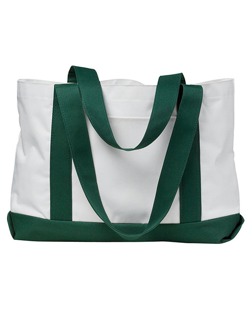 Liberty Bags 7002 P & O Cruiser Tote White/Forest at GotApparel
