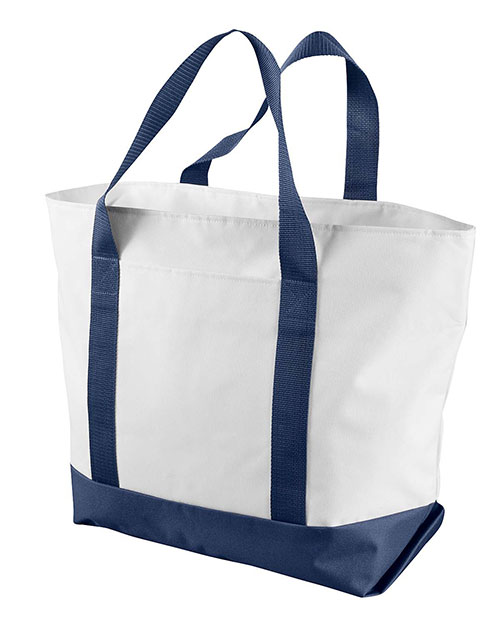 Liberty Bags 7006 Bay View Giant Zippered Boat Tote White/Navy at GotApparel