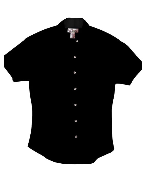 Tri-Mountain 711 Women Monarch Easy Care Short Sleeve Twill Shirt Black at GotApparel