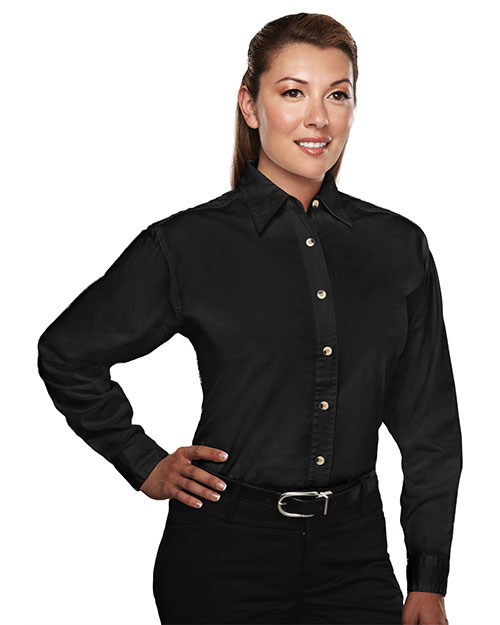 Tri-Mountain 712 Women Consultant Easy Care Long Sleeve Twill Shirt Black at GotApparel