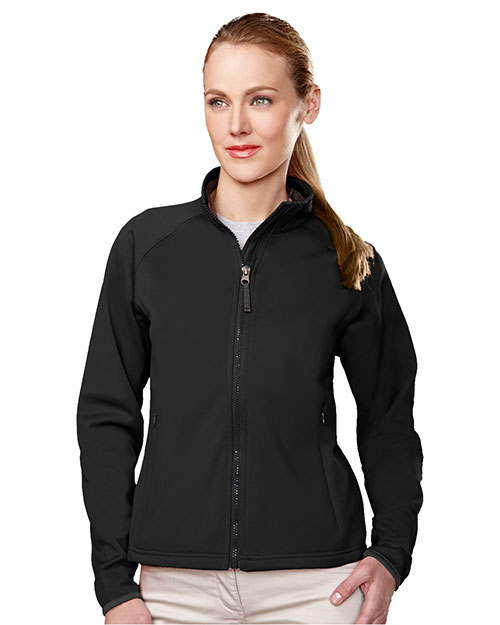 Tri-Mountain 7320 Women Arena Polyknit Fleece Full Zip Jacket Black/Charcoal at GotApparel