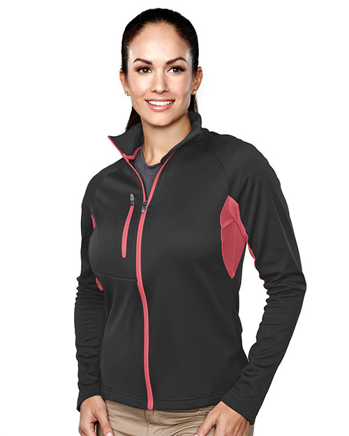 TRI-MOUNTAIN PERFORMANCE 7357 Women Lancer Fleece Long Sleeve Jacket Midnight Charcoal/Guava at GotApparel
