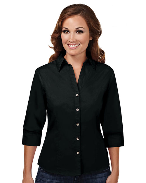 Tri-Mountain 763 Women Affinity Stain Resistant Open Neck 3/4 Sleeve Shirt Black at GotApparel