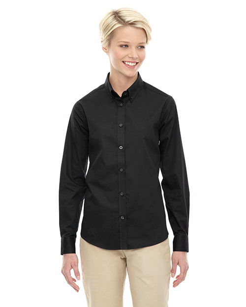 Core 365 78193 Women Operate Long Sleeve Twill Shirt Black 703 at GotApparel