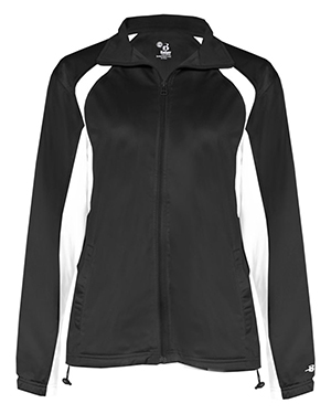 Badger 7902  Lady Tricot Full-Zip Jacket Black/ White at GotApparel