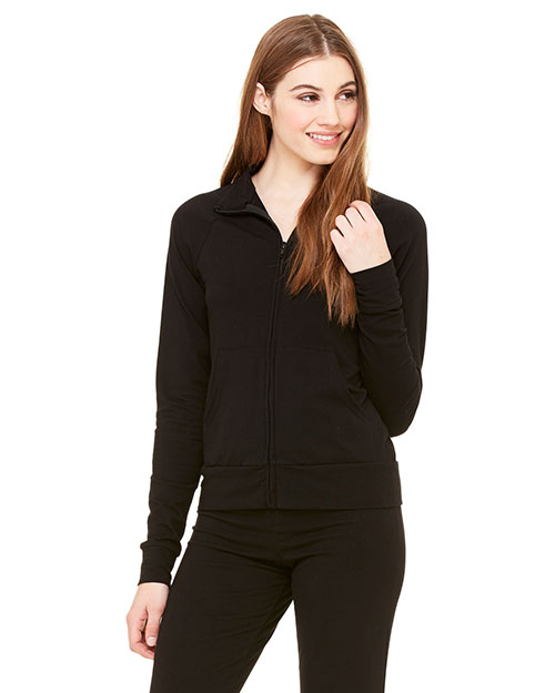 Bella + Canvas 807 Women Cotton/Spandex Cadet Jacket Black at GotApparel