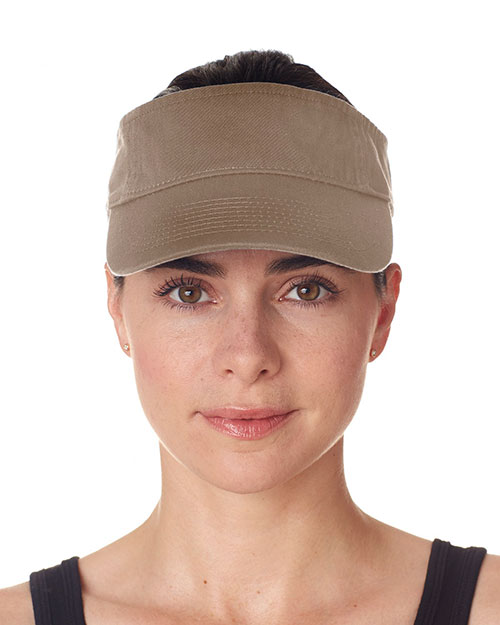 UltraClub 8103  Unisex Classic Cut Chino Cotton Twill Visor Khaki at GotApparel
