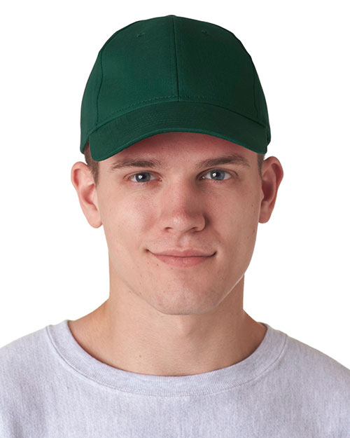 UltraClub 8110  Unisex Classic Cut Brushed Cotton Twill Constructed Cap Forest Green at GotApparel