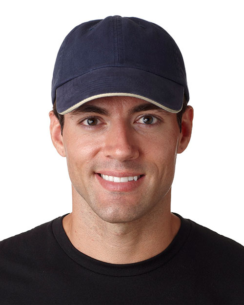 UltraClub 8112  Unisex Classic Cut Brushed Cotton Twill Unconstructed Sandwich Cap Navy/ Stone at GotApparel