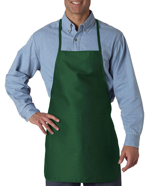 UltraClub 8200 Unisex Large 2Pocket Apron Forest Green at GotApparel