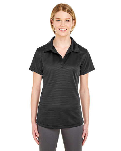 UltraClub 8220L Women Cool & Dry Jacquard Stripe Polo Black at GotApparel