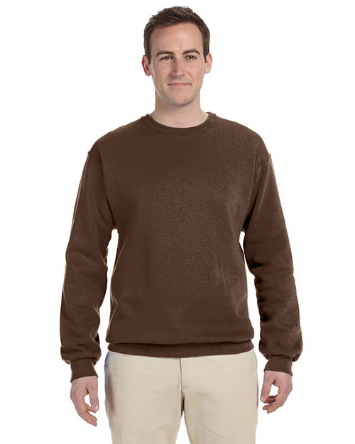 Fruit of the Loom 82300 Men 12 oz. Supercotton 70/30 Fleece Crew Chocolate at GotApparel