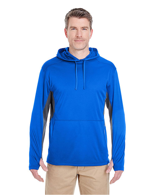 UltraClub 8231BND Adult 8231   Cool & Dry Sport Hooded Pullover Kyanos Blue/ Charcoal at GotApparel