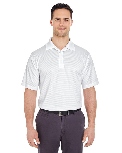 UltraClub 8305 Men Cool & Dry Elite MiniCheck Jacquard Polo White at GotApparel