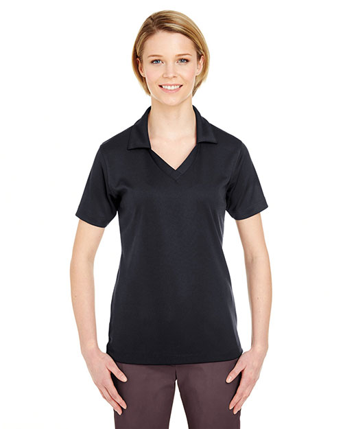 UltraClub 8320L Women Platinum Performance Jacquard Polo with TempControl Technology Black at GotApparel