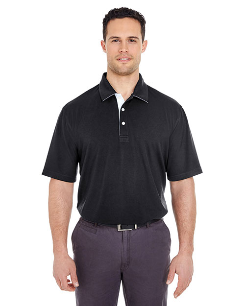 UltraClub 8325 Men Platinum Performance Birdseye Polo with TempControl Technology Black at GotApparel