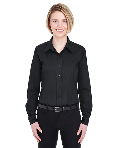 UltraClub 8355L Women EasyCare Broadcloth Black at GotApparel