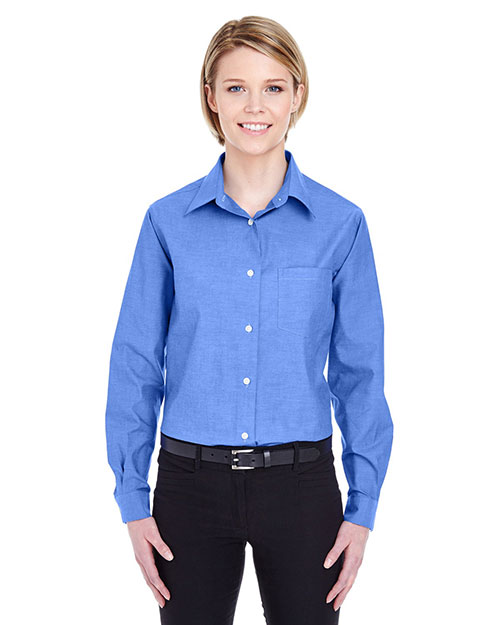 UltraClub 8361 Women LongSleeve Performance Pinpoint French Blue at GotApparel