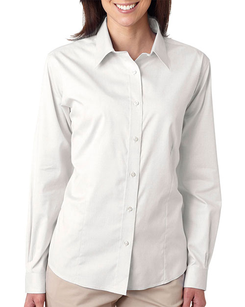 UltraClub 8381  Women's Ammonia Wash Pinpoint Dress Shirt White at GotApparel