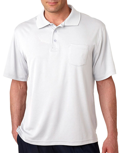 UltraClub 8405P Men Cool & Dry Sport Polo with Pocket White at GotApparel