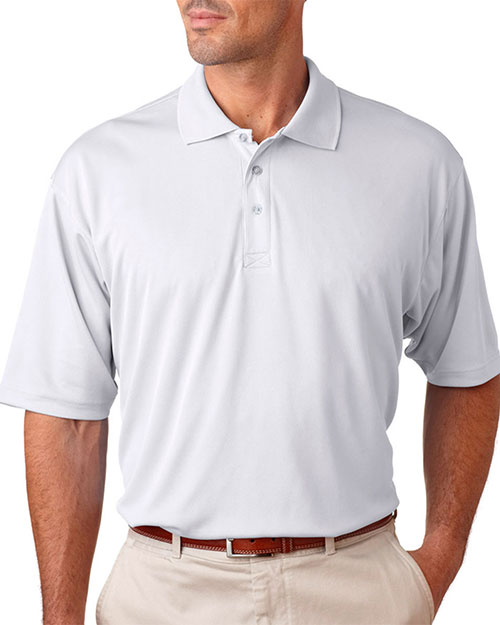 UltraClub 8405T Men Tall Cool & Dry Sport Polo White at GotApparel