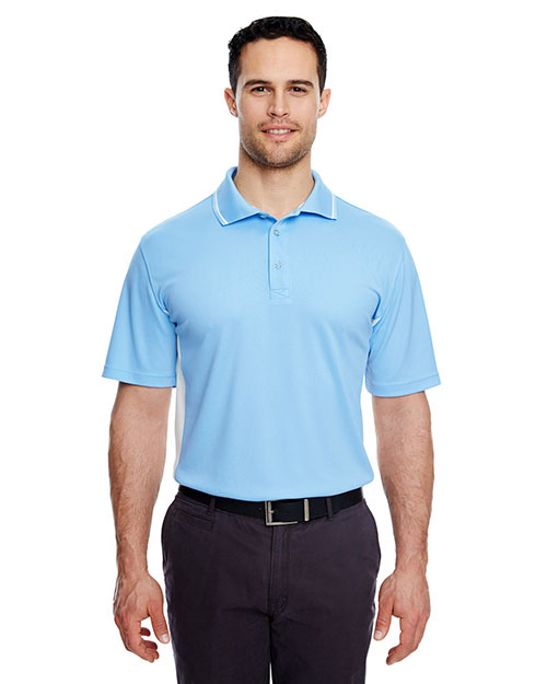 UltraClub 8406 Men Cool & Dry Sport 2Tone Polo Columbia Blue/ White at GotApparel